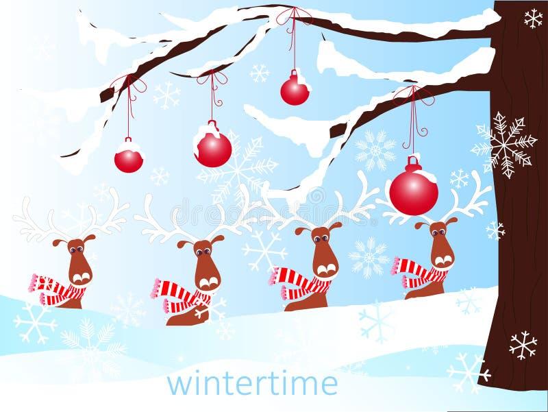 Fondo romántico del invierno con el árbol de navidad marrón, renos de la historieta, bolas rojas en la nieve blanca, invierno libre illustration