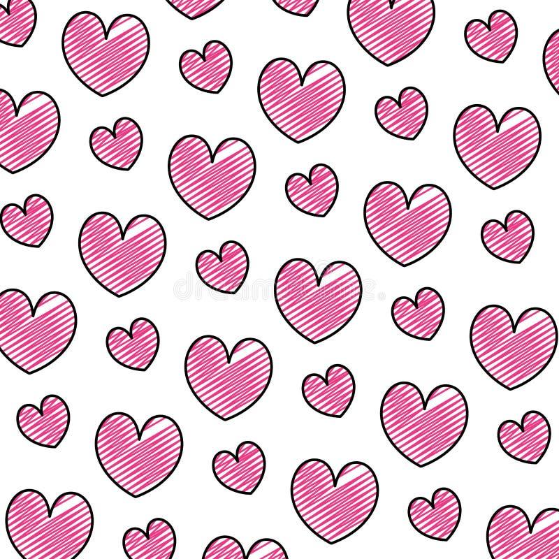 Fondo romántico del símbolo del corazón de la belleza del garabato libre illustration