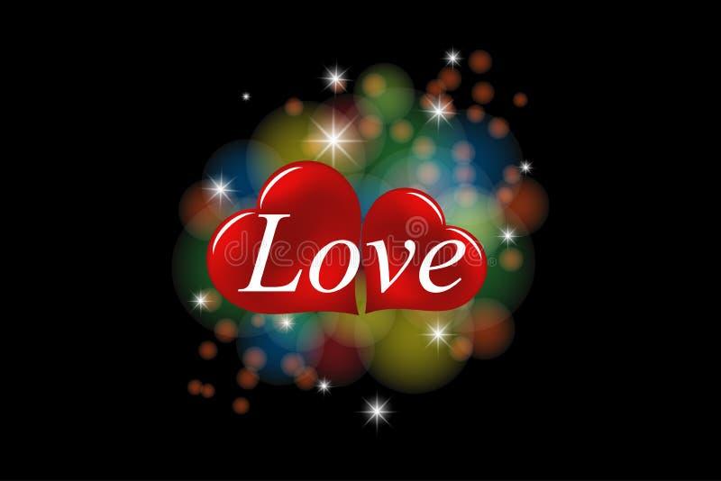 Fondo romántico, dos corazones con la inscripción del amor en el fondo coloreado del bokeh aislado en fondo negro stock de ilustración