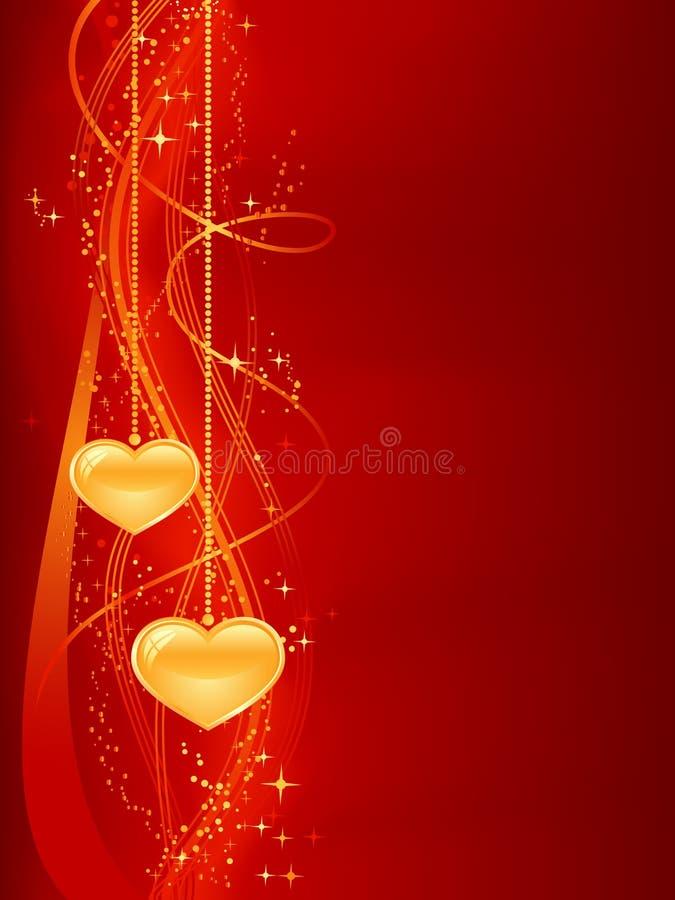 Fondo romántico en oro rojo con los corazones ilustración del vector