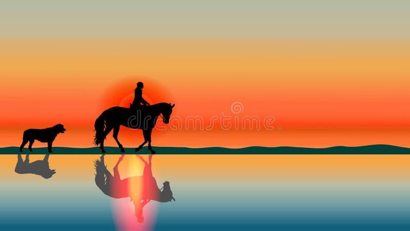 Fondo romantico del cavallo - siluette di tramonto sulla spiaggia illustrazione di stock