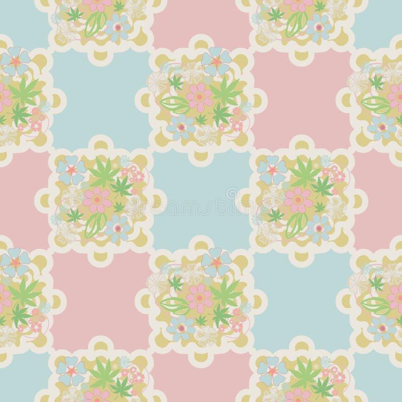 Fondo romantico floreale di struttura del modello del retro pizzo senza cuciture royalty illustrazione gratis