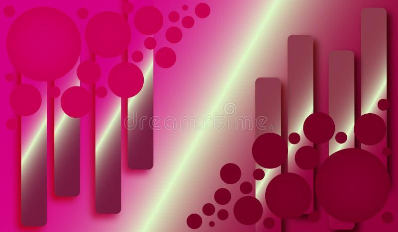 Fondo rosáceo con rectángulos y el círculo ilustración del vector
