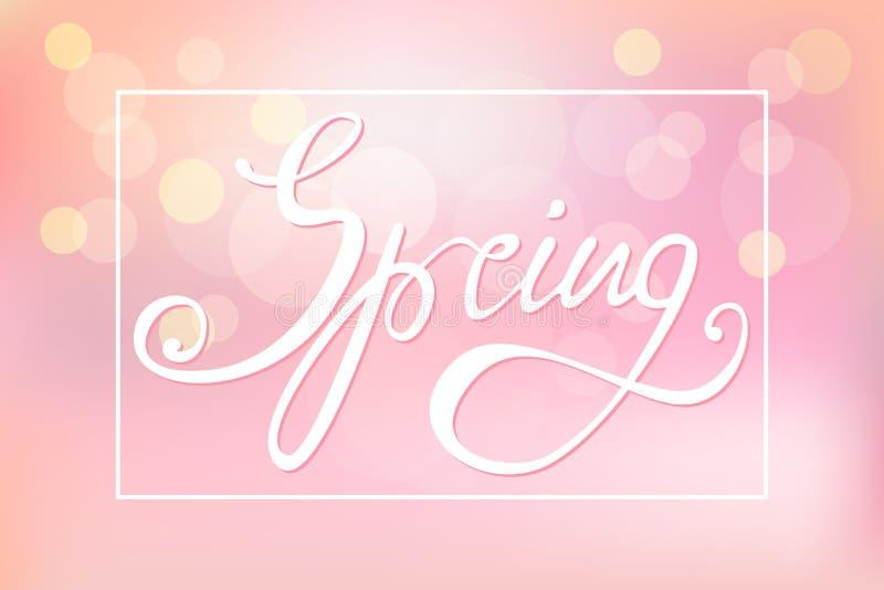 Fondo rosa astratto con la iscrizione-primavera illustrazione vettoriale