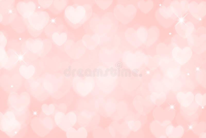 Fondo rosa-chiaro del biglietto di S. Valentino del cuore illustrazione di stock