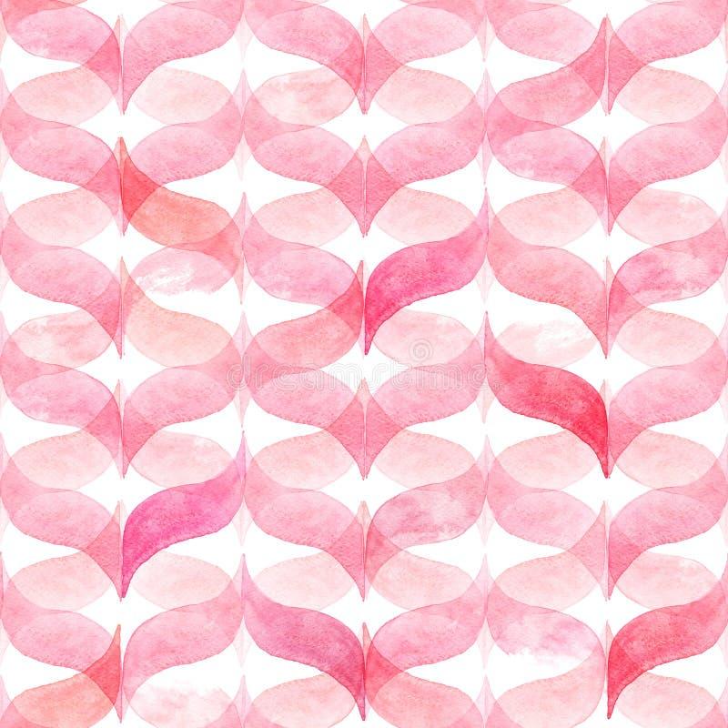 Fondo rosa-chiaro dell'acquerello con percalle ondulato curvo reticolo senza giunte geometrico illustrazione di stock