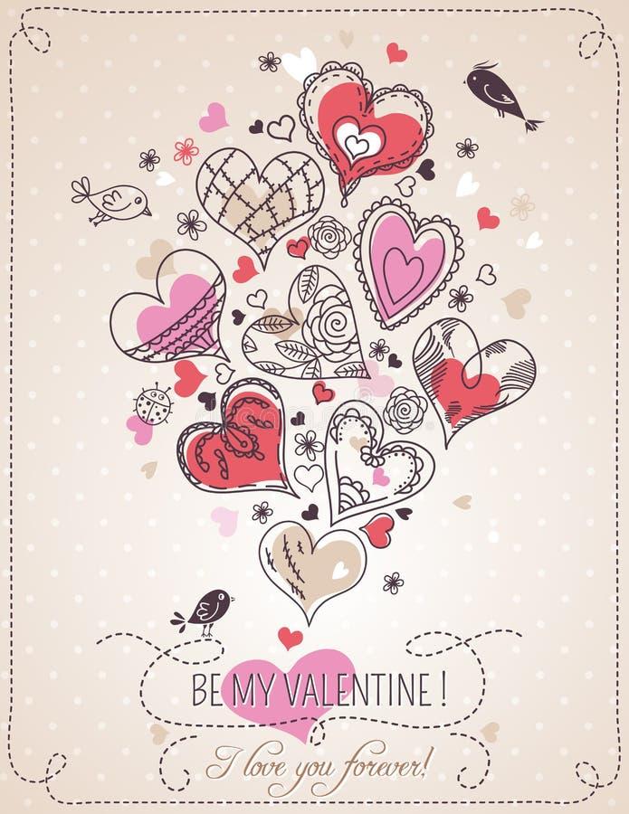 Fondo rosa con Florida del cuore e della molla del biglietto di S. Valentino illustrazione vettoriale
