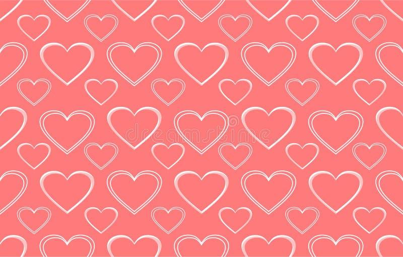 Fondo rosa con il modello del cuore fotografia stock libera da diritti