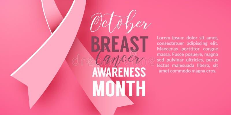 Fondo rosa con la campagna di carta di mese di consapevolezza del cancro al seno di ottobre di simbolo del nastro illustrazione vettoriale
