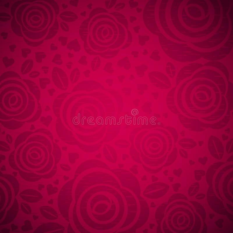 Fondo rosa con rosa e cuore, vettore illustrazione vettoriale