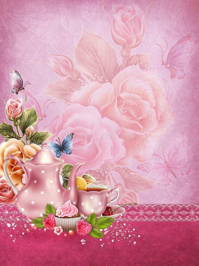 Fondo rosa con un vaso del tè royalty illustrazione gratis