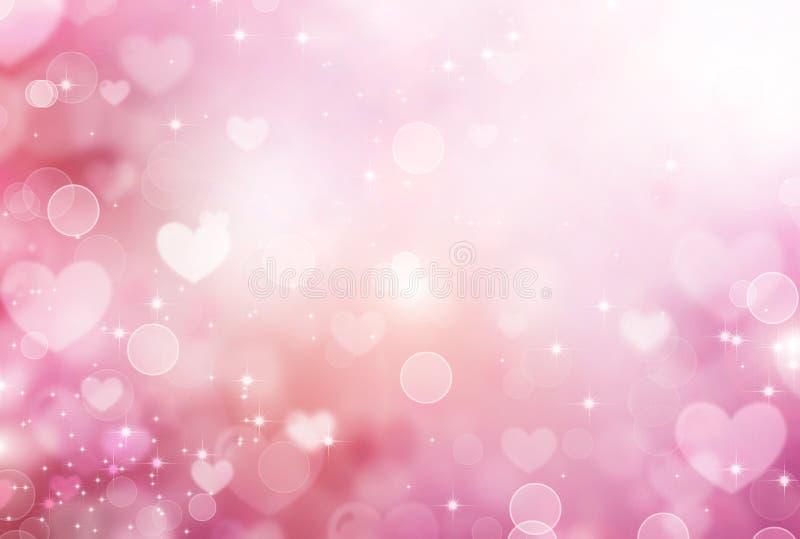 Fondo rosa dei cuori del biglietto di S. Valentino illustrazione di stock