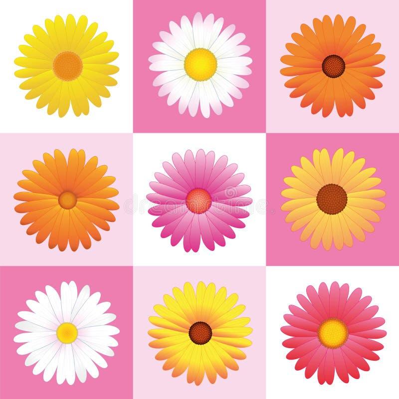 Fondo rosa del modello delle margherite dei fiori royalty illustrazione gratis