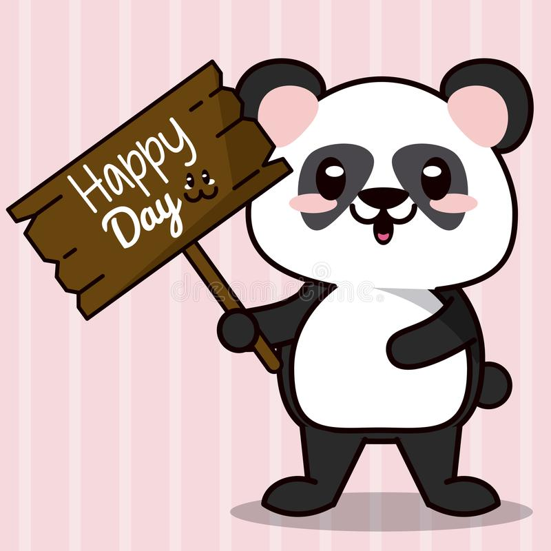Fondo rosa di colore con le linee siluette della banda ed il panda animale dell'orso di kawaii sveglio che sta con il segno di le illustrazione vettoriale