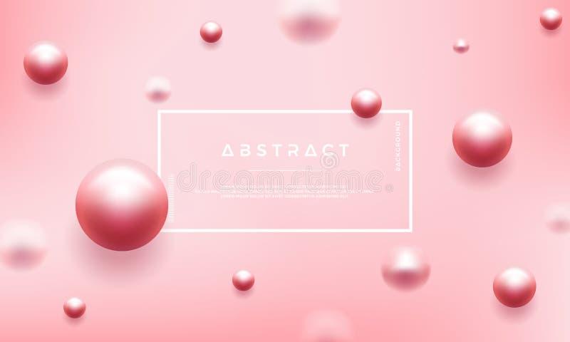 Fondo rosa di lusso dell'estratto con le belle perle Può essere usato per i vostri manifesti cosmetici di promozione illustrazione vettoriale