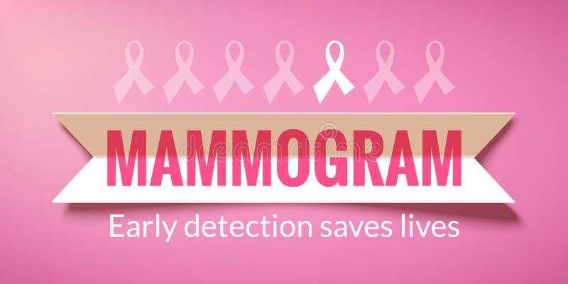 Fondo rosa di vettore con il mammogramma di carta dell'iscrizione e del nastro royalty illustrazione gratis