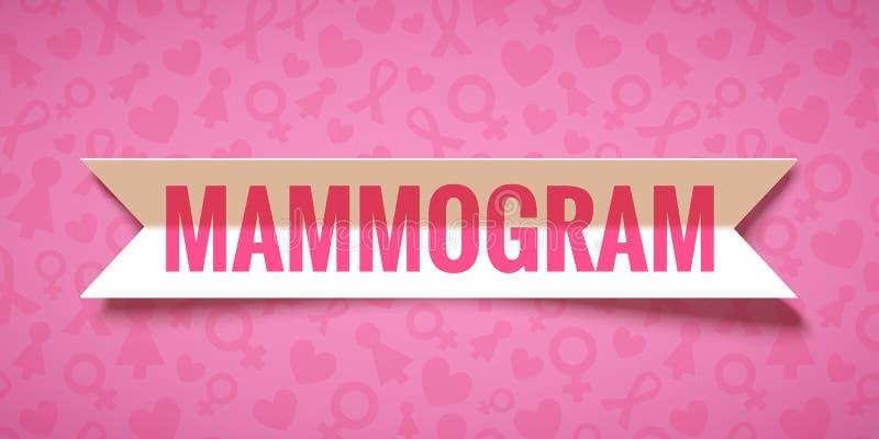 Fondo rosa di vettore con il mammogramma di carta dell'iscrizione e del nastro illustrazione di stock