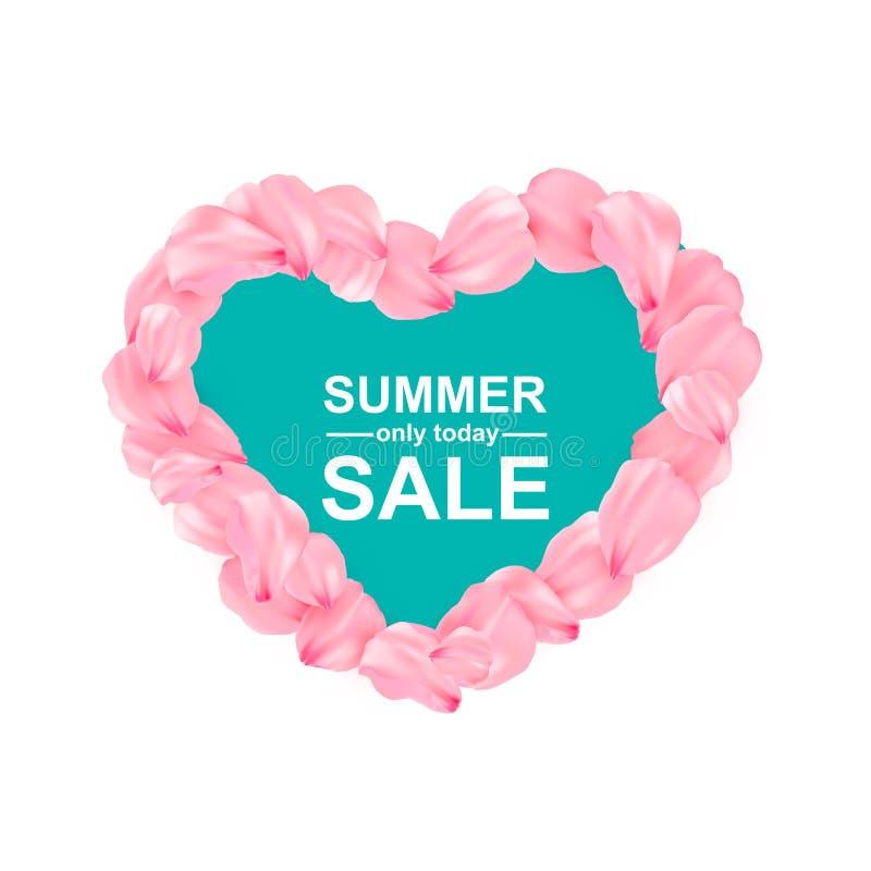 Fondo rosa di vettore dei petali del cuore di sakura illustrazione di stock