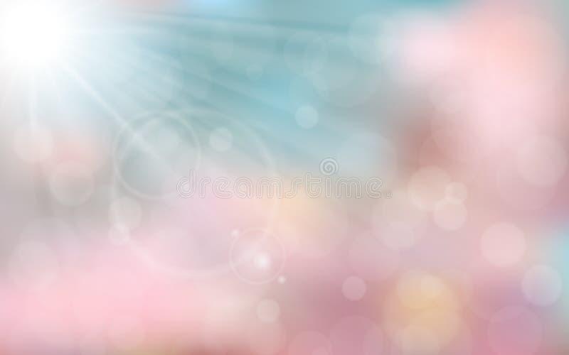 Fondo rosa e blu della molla illustrazione di stock