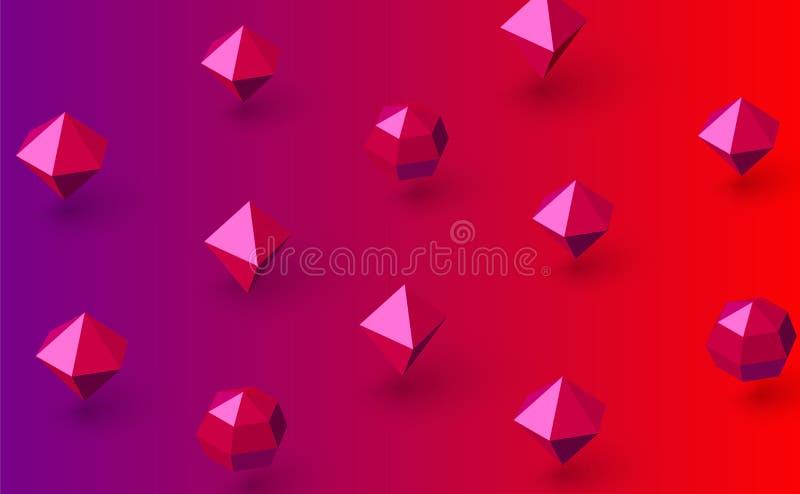 Fondo rosa e rosso di spettro con i diamanti 3d illustrazione vettoriale