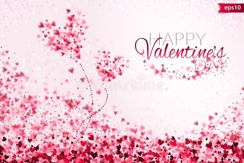 Fondo rosa ENV 10 di giorno del ` s del biglietto di S. Valentino della luce del bokeh dei cuori Contesto tenero con i cuori vari illustrazione vettoriale