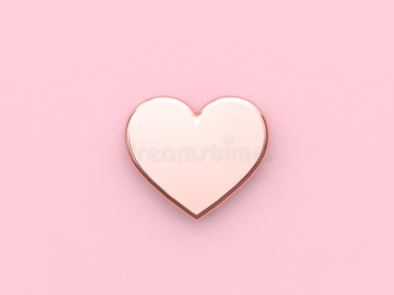Fondo rosa minimo 3d del cuore 3d dell'icona di rosa dell'oro metallico astratto della lucido-rosa rendere concetto del nuovo ann illustrazione vettoriale
