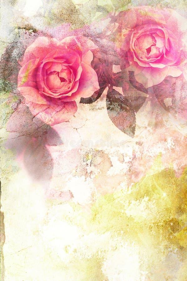 Fondo rosa romantico delle rose illustrazione di stock