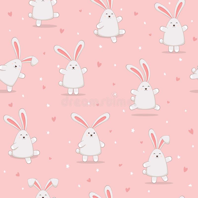 Fondo rosa senza cuciture con i conigli felici di Pasqua royalty illustrazione gratis