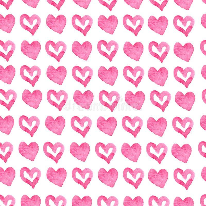 Fondo rosa senza cuciture disegnato a mano dei cuori illustrazione vettoriale