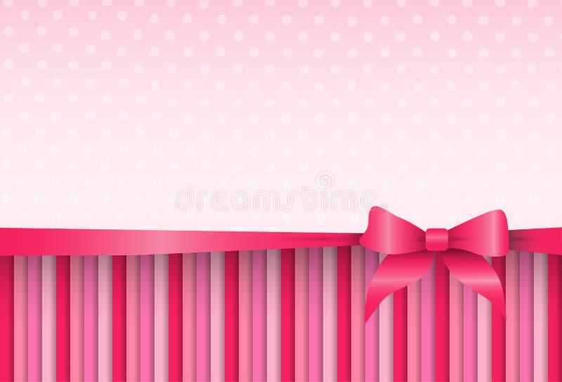 Fondo rosa Valentine Day Gift Card Holiday dell'estratto del modello illustrazione vettoriale