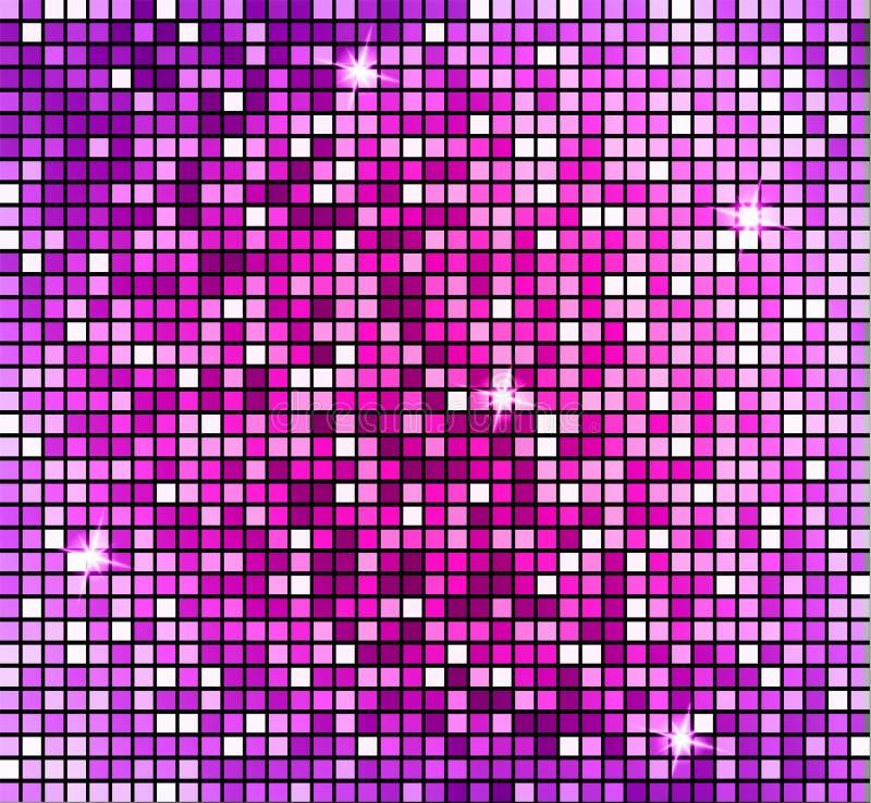 Fondo rosado abstracto brillante del mosaico Mosaico brillante en estilo de la bola de discoteca El disco de plata del vector enc stock de ilustración