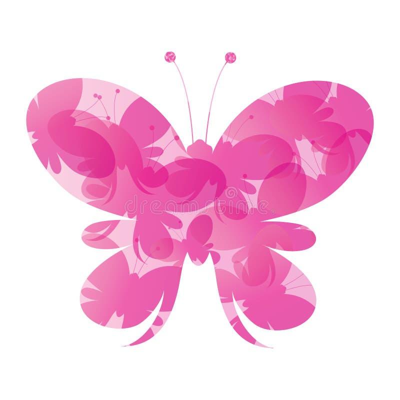 Fondo rosado abstracto de las mariposas del vector fotos de archivo libres de regalías