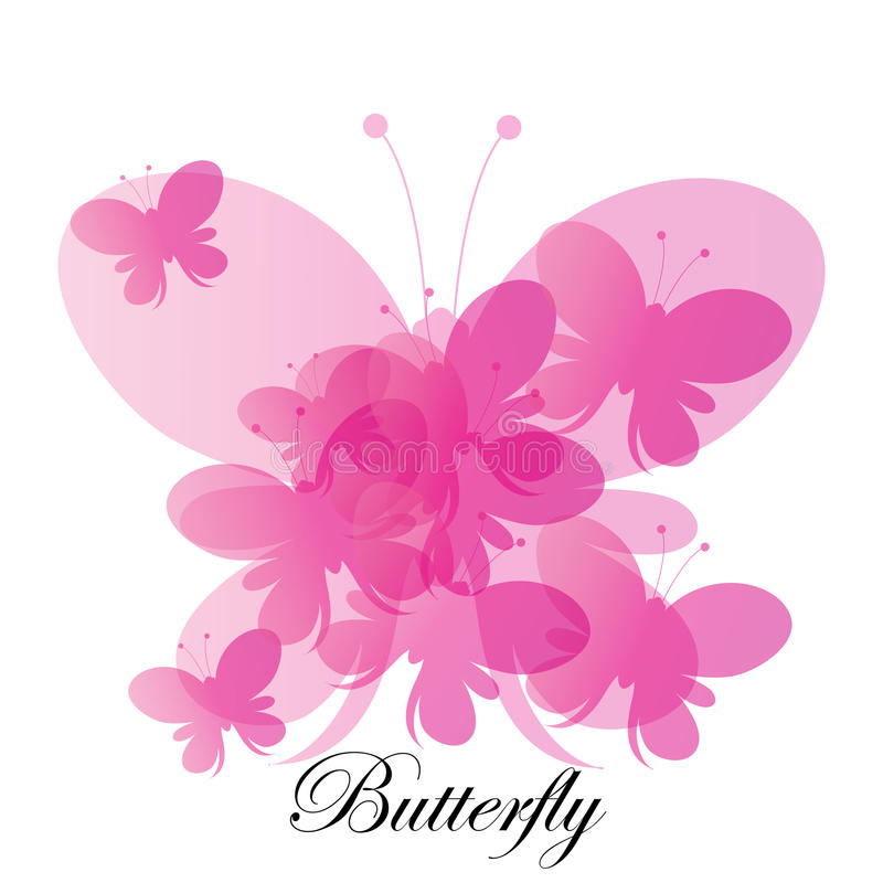 Fondo rosado abstracto de las mariposas del vector imagenes de archivo