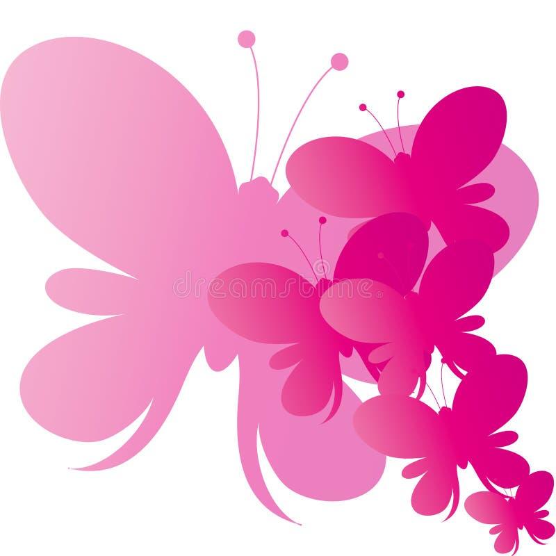 Fondo rosado abstracto de las mariposas del vector fotografía de archivo libre de regalías