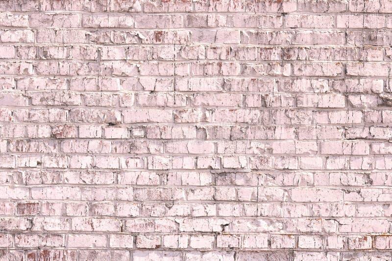 Fondo rosado abstracto saturado brillante de la pared de ladrillo vieja fotografía de archivo libre de regalías