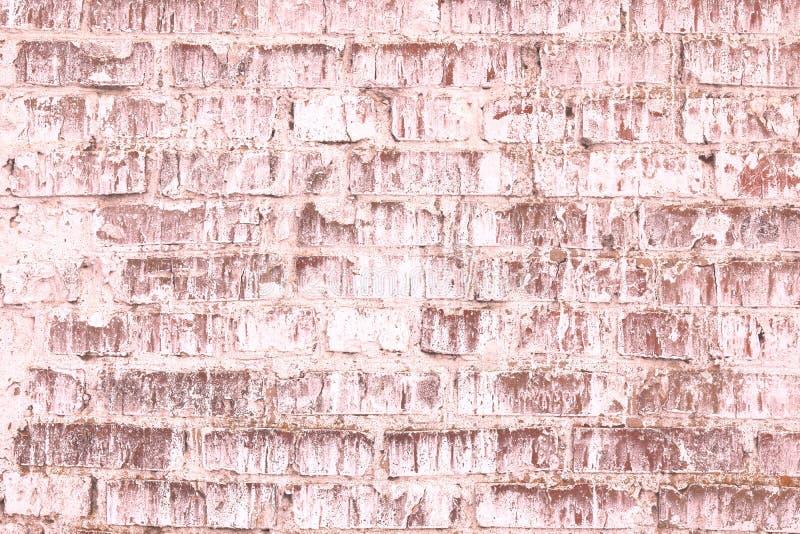 Fondo rosado abstracto saturado brillante inusual de la pared de ladrillo vieja foto de archivo