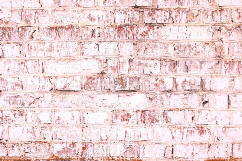Fondo rosado abstracto saturado brillante inusual de la pared de ladrillo vieja fotografía de archivo