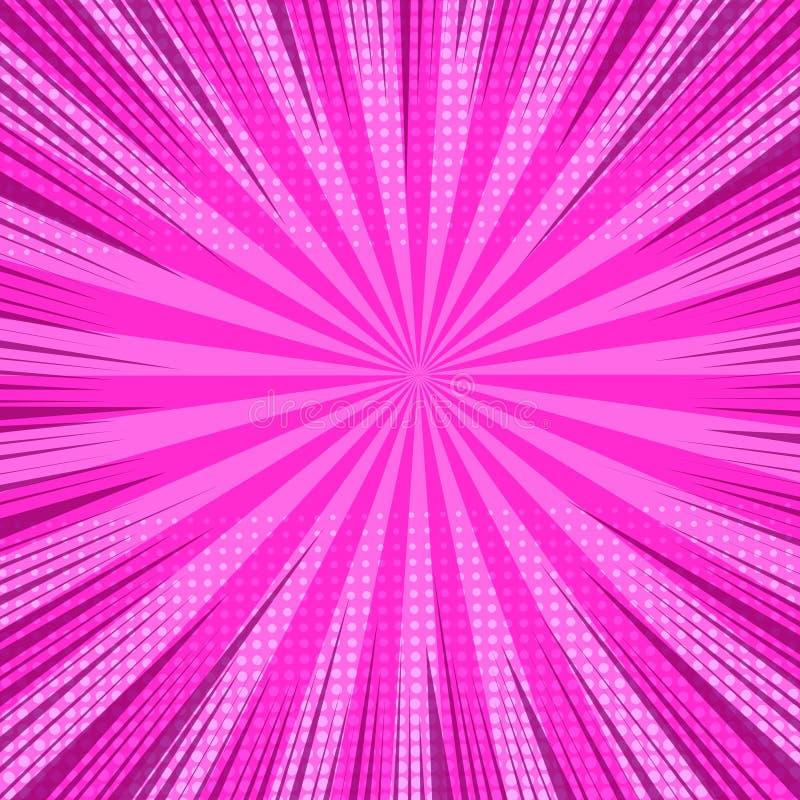 Fondo rosado brillante cómico colorido ilustración del vector
