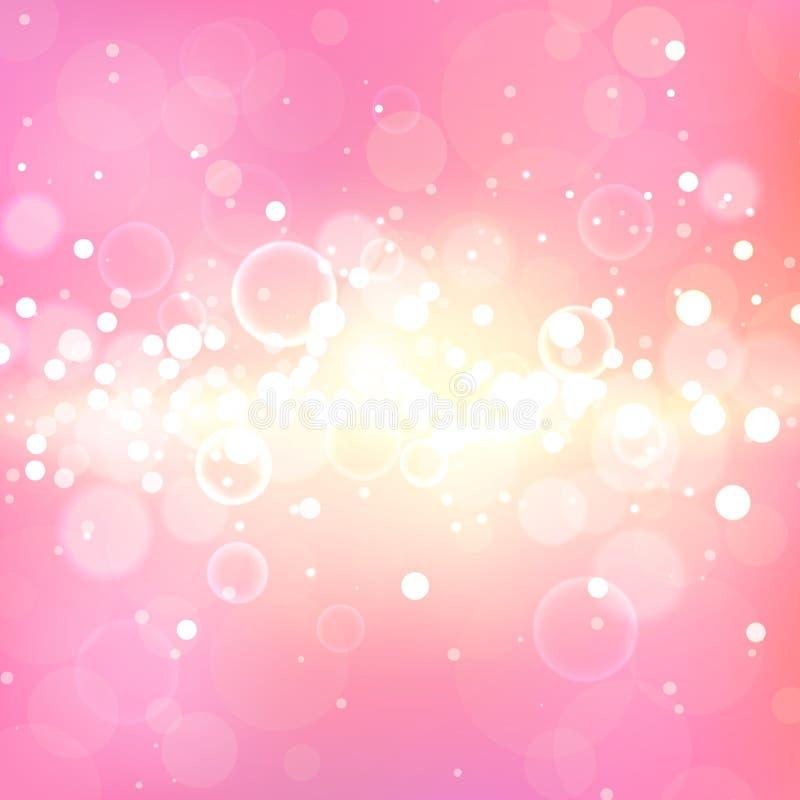 Fondo rosado brillante con efectos luminosos Chispas Defocused mágicas del brillo Contexto suave borroso stock de ilustración