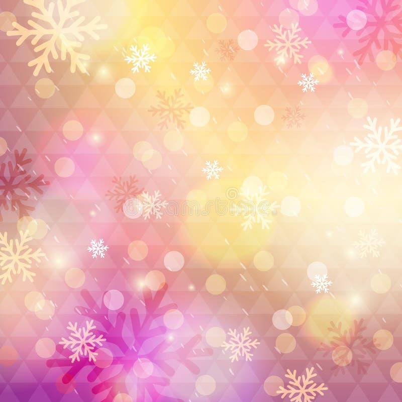 Fondo rosado brillante con el bokeh y los copos de nieve, vector ilustración del vector