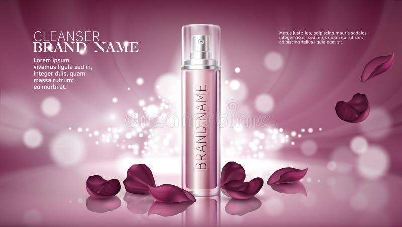 Fondo rosado brillante con la hidratación de productos superiores cosméticos stock de ilustración