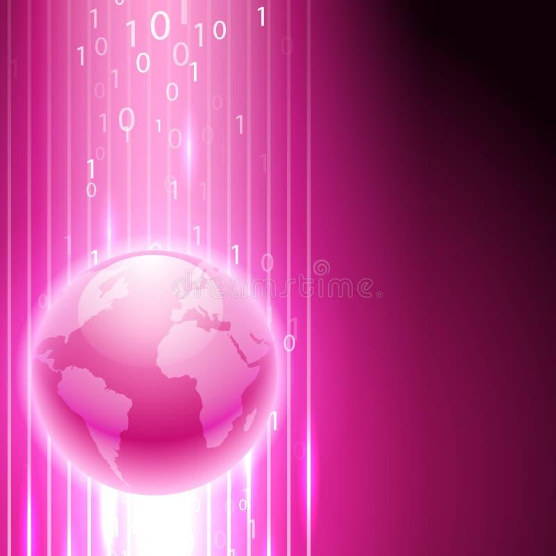 Fondo rosado con código binario al globo ilustración del vector