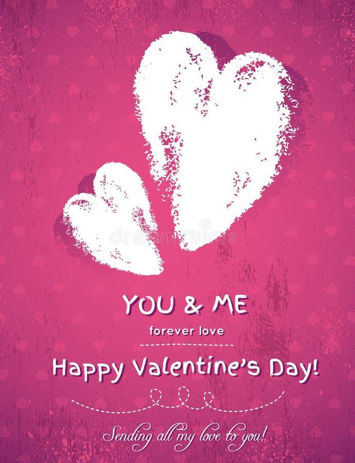 Fondo rosado con dos corazones y deseos de la tarjeta del día de San Valentín libre illustration