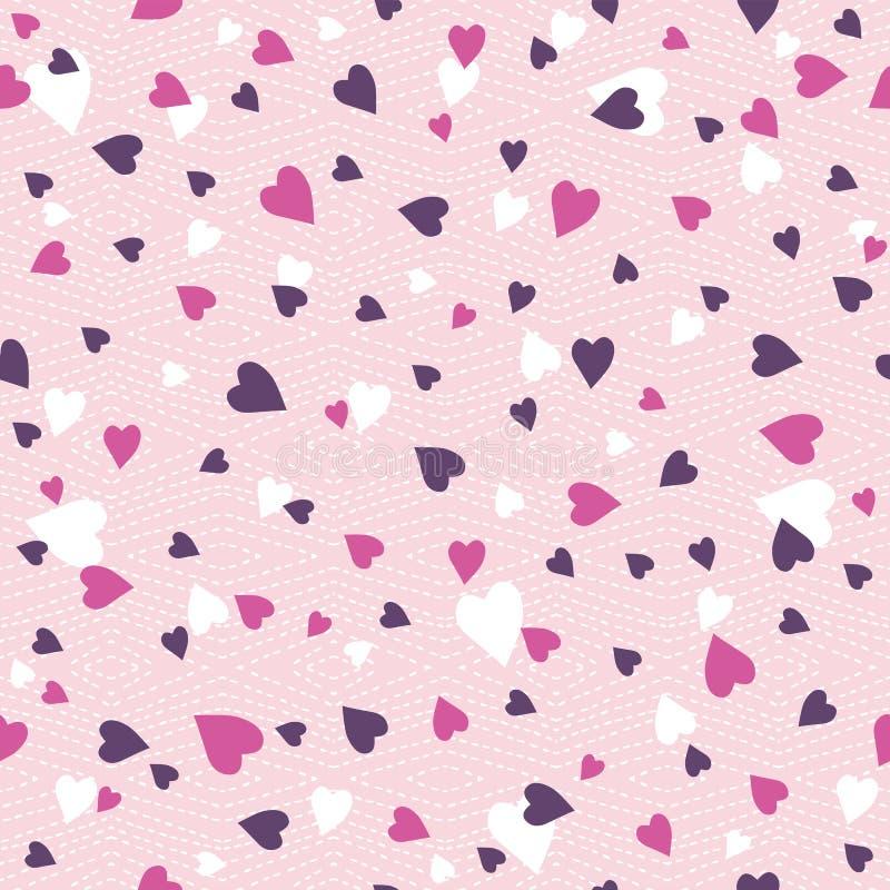 Fondo rosado con el corazón de la tarjeta del día de San Valentín, ejemplo del vector Identificación stock de ilustración