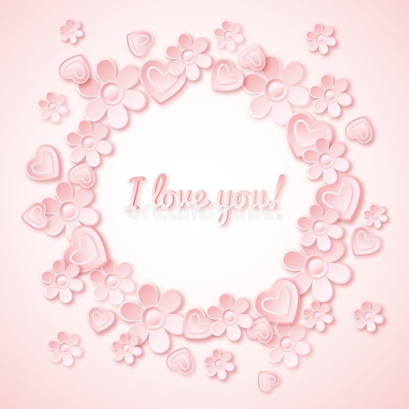 Fondo rosado con el corazón de la tarjeta del día de San Valentín, flores y libre illustration