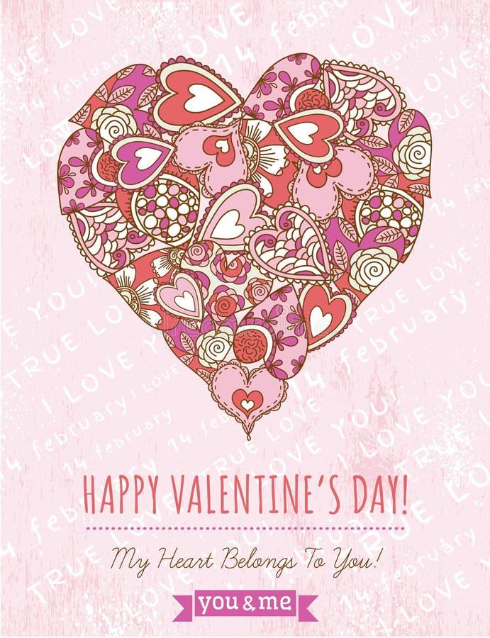 Fondo rosado con el corazón de la tarjeta del día de San Valentín, vector stock de ilustración
