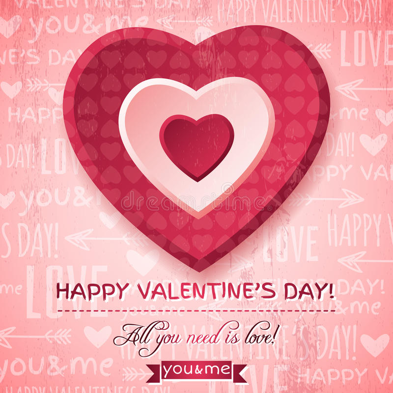 Fondo rosado con el corazón y el deseo rojos de la tarjeta del día de San Valentín stock de ilustración