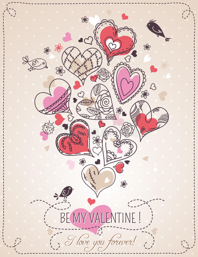Fondo rosado con el corazón y la primavera la Florida de la tarjeta del día de San Valentín ilustración del vector
