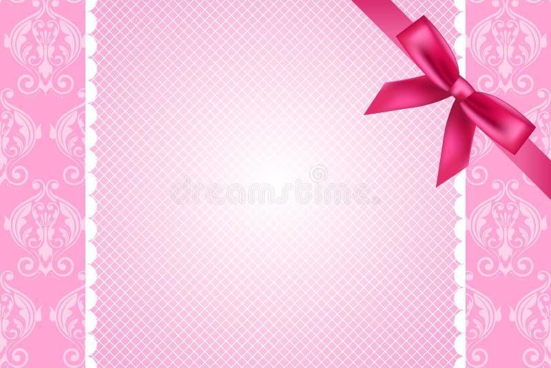 Fondo rosado con el cordón y el arco ilustración del vector