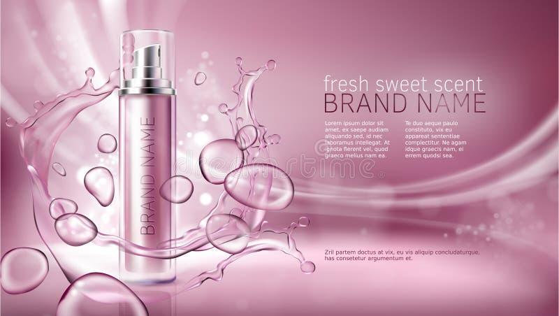 Fondo rosado con la hidratación de productos superiores cosméticos libre illustration